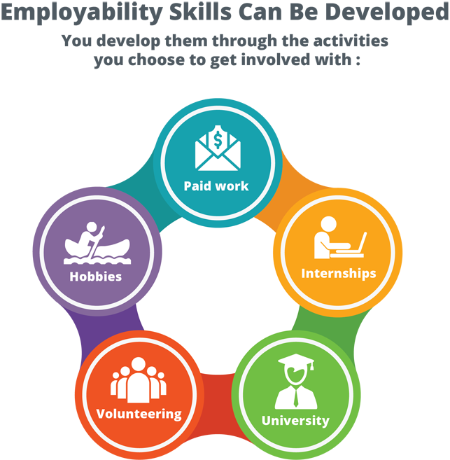 develop employability skills via activities at university, volunteering, hobbies, internships, paid work