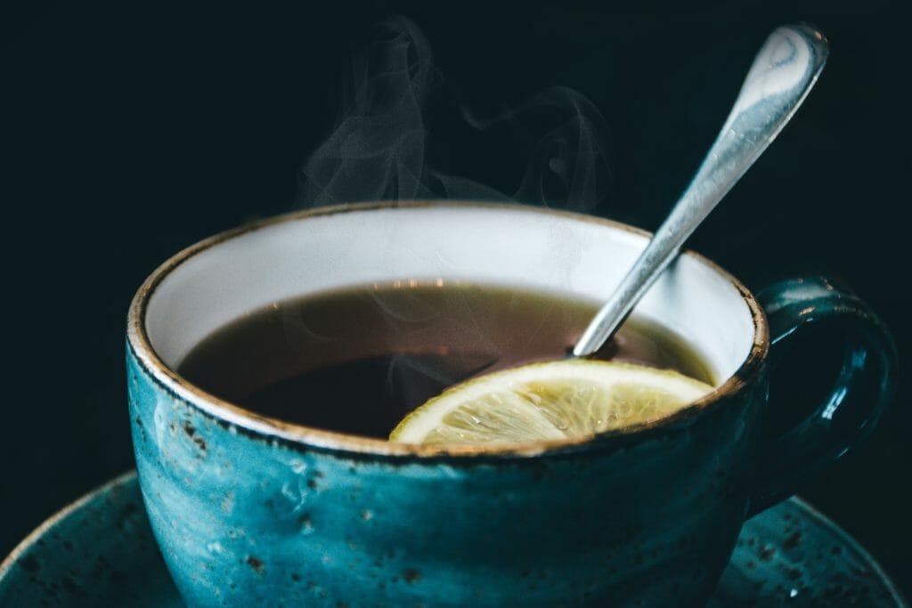 herbal tea with a lemon slice